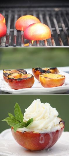 Grilled peaches with ice cream on top!! Such a yummy idea.