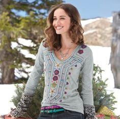 """EMBROIDERED TO A TEE--Nothin' plain about this gray cotton knit tee, fancifully embroidered all over the front and back yoke. Crossover V-neck. Machine wash. Imported. Sizes XS (2), S (4 to 6), M (8 to 10), L (12 to 14), XL (16). Approx. 27""""L."""