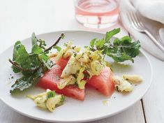Curried Crab and Watermelon Salad with Arugula | In this easy yet sophisticated recipe, chef Daniel Boulud pairs a curry-spiced crab salad with sweet watermelon and bright cilantro and mint.