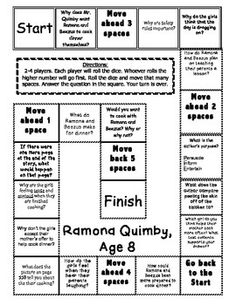 """""""Ramona Quimby, Age 8"""" Comprehension Game Board- Journeys"""