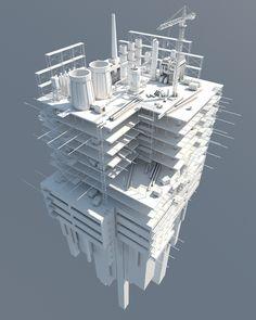 Low Poly Industrial Installation by Vitaly Cherkasov #illustrazione #disegno #tecnico #3d