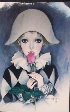 Vintage Retro 1980s Mira Fujita postcard Pierrot Clown with Tear.