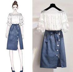 Trendy fashion design sketches dresses clothes 44 ideas - Color palette for clothes - Cute Fashion, Look Fashion, Trendy Fashion, Girl Fashion, Fashion Ideas, Fashion Inspiration, Korea Fashion, Asian Fashion, Dress Outfits