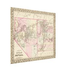 Vintage Map of Nevada and Utah (1880) Canvas Print