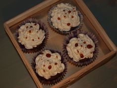 cherry cupcakes with cream and sugar tears