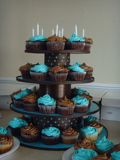 diy cupcake stand using cardboard, ribbon, and styrofoam. Could definitely do this.