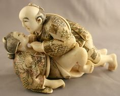 "An example of ""shunga netsuke"" (erotic ivory carvings from Japan). Some of them are much more sexually explicit than this one!"