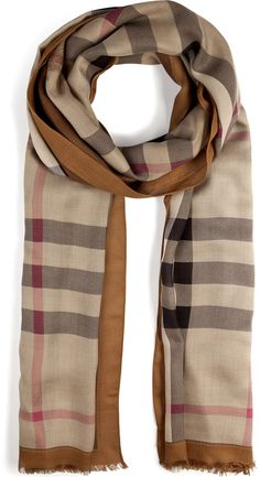 Burberry London Haymarket Color Border Scarf in Mid Camel Check