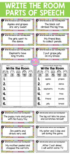 This write the room activity will keep your students active and engaged, while they walk around the classroom, reading sentences and finding specific parts of speech. This is also a prime time to have them practice writing neatly.   There are 5 different write the room activities and they come in color and black and white. Each game has 6 questions.