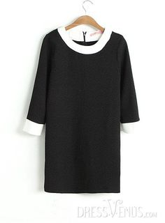 US$30.99 Romantic Assorted Colors Round Neckline Dress. #Sleeve #Colors #Round #Assorted