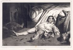 REALISM~ Honore Daumier, Rue Transnonain, Lithograph, X 5 Philadelphia Museum of Art, Philadelphia (bequest of Fiske and Marie Kimball). Satire, Honore Daumier, Getty Museum, Learn Art, French Art, Famous Artists, Caricatures, Illustrations, British Museum