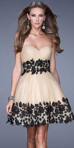 La Femme Floral Lace Cocktail Dresses