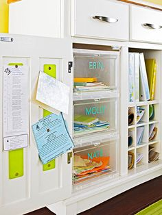 Entryway Organizer; use plastic drawers labeled with each kids names to keep library books, extra school stuff etc.  use in conjunction with locker type system in our entryway?