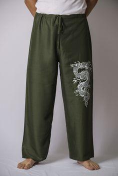 The Dragon Men's Thai Yoga Pants in Green – Harem Pants
