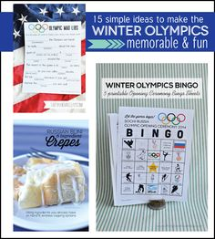 15 simple ideas to make the Winter Olympics memorable and fun! www.thirtyhandmadedays.com