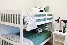 Fun and Original Ideas for Boy's Bedroom Decor – Voyage Afield Living Room Designs, Living Room Decor, Bedroom Decor, Bedroom Ideas, Living Rooms, Green Bedding, Bedroom Green, Kid Beds, Bunk Beds