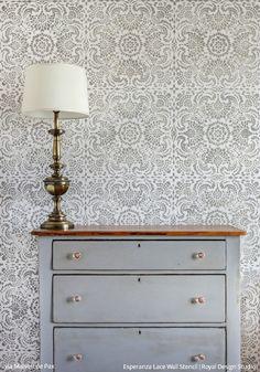 Esperanza Lace Tile Stencil | Royal Design Studio Stencils