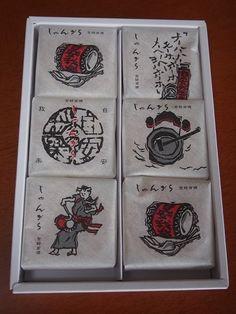 福島県出身の職場の先輩から素敵なお土産を頂戴しました!!! このような包装紙に包まれた…、 お菓子のみよし じゃんがら福島県いわき市にあるお菓子のみよしの看板…