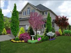Front garden design idea - nice balance of color and texture