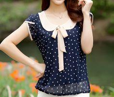Plus Size XXXL Summer Blusa Women Fashion Short Sleeve Peter pan Collar Bow Dot Chiffon Blouse Shirts Summer Casual Tops Blouses