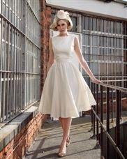 H.X.E Satin Lace Bateau Knee-Length Mini Wedding Dresses