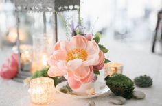 Peach coral peony tea cup. Bohemian-vintage tea party wedding. Emily Wren photography. Venue: the Manor at Prophecy Creek Ambler, Pennsylvania