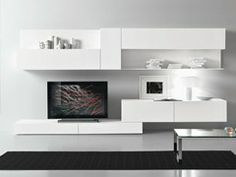 Modern Living Room Tv Wall Units elegant white tv cabinet with contrast wallpaper ipc338 - lcd tv