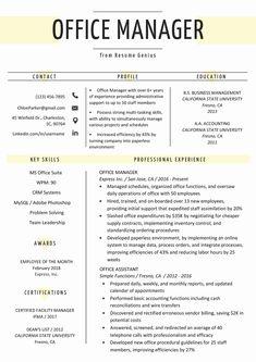Resume Examples Office Office Manager Resume Sample Tips Resume Genius – wikires… - Modern Resume Writing Tips, Resume Skills, Beau Cv, Office Manager Resume, Case Manager, Business Resume, Office Jobs, Project Manager Resume, Office Decor