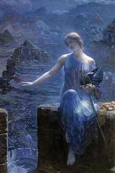 A Valkyrie -painted by Edward Robert Hughes; do not let her beauty detract from her might; she has been to every battle overseen by Odin to collect her most heroic warriors. Edward Robert Hughes, Lawrence Alma Tadema, John William Godward, John William Waterhouse, Drawings With Meaning, Guache, Illustration, Romanticism, Beautiful Paintings