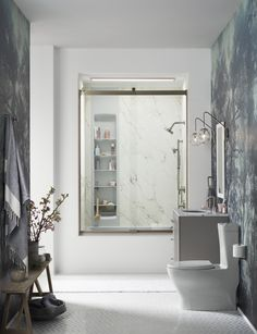 Shampoos, soaps, loofahs and razors are easy to find and grab with built-in shower storage. Choreograph shower walls & Locker storage
