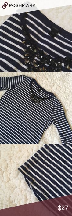 J. Crew XXS Embellished Blouse w Nautical Stripes Perfectly preppy.    length: 22, Bust armpit-to-armpit: 15, Sleeve: 11 J. Crew Tops Blouses