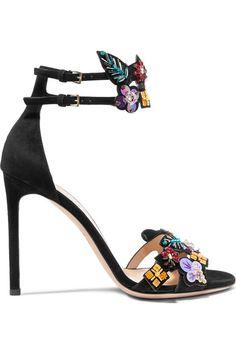 VALENTINO | Embellished suede sandals #Shoes #Sandals #High_Heel #VALENTINO