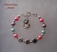 Personalized Little Angel Girl Charm Bracelet For
