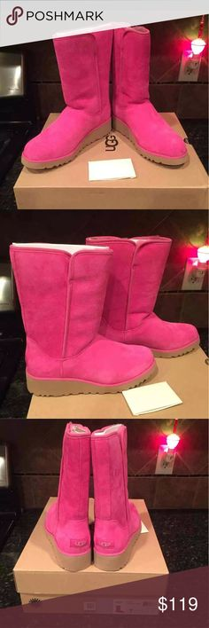 Ugg New Size 7 Hot Pink Brand new from smoke free home, slight platform. Size 7 UGG Shoes Winter & Rain Boots