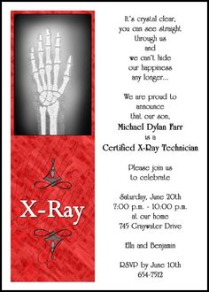 find your specialized x-ray technician graduation announcements and graduating x-ray tech invitations at GraduationCardsShop, card number 7573GCS-OT, priced as low as 79¢ each