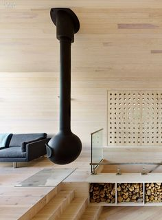 Norwegian pine wood. Black fireplace