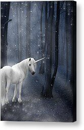 Beautiful Unicorn in Snowy Forest Canvas Print by Ethiriel  Photography
