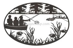 Boat Fishing Oval - Cut from metal with CNC. This DXF file is designed for CNC Plasma, Laser, or waterjet machines.