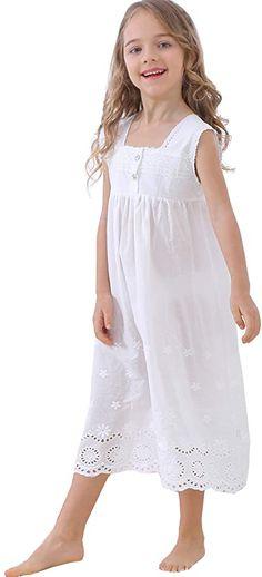 BLOMDES Girls Floral Nightgown Flower Printing Sleepwear Cotton for 3-12 Years