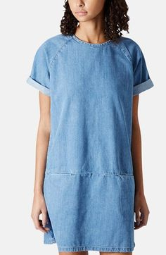 Topshop Moto Denim T-Shirt Dress available at #Nordstrom