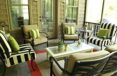 Less-Than-Perfect Life of Bliss: Screened Porch Makeover Reveal Wicker Porch Furniture, Screened In Porch Furniture, Screened Porch Decorating, Outdoor Furniture Sets, Furniture Layout, Furniture Decor, Outdoor Fireplace Designs, Porch Makeover, Bliss