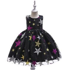 Sequin Star Embroidered  Girls Black Party Dresses