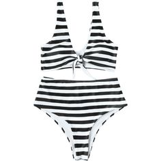Knotted Striped High Waisted Bikini Set (97 BRL) ❤ liked on Polyvore featuring swimwear, bikinis, white and black bikini, high waisted bikini, striped high waisted bikini, black and white bikini and bikini two piece