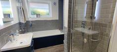 Blue, Grey and White Bathroom Transformation in Horley, Surrey - Blok Designs Ltd Marine Blue Color, Grey And White, Blue Grey, Fitted Bathrooms, Luxury Bathrooms, White Bathroom, Glass Shelves, Vinyl Flooring, Surrey