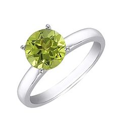 1.25 Ct Round Cut August Birthstone Peridot 14K White Gold Solitaire Ring by JewelryHub on Opensky