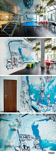 The hungarian office of Skyscanner asked us to design something cool in their office. What better to ask for? Office of the Year 2. place - 2015  #robotdesign #robot #robots #design #office #officedesign #walldesign #pimpmywall