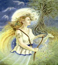 deusa grega da floresta e da caça, filha de Zeus e irmã gêmea de Apolo. Ela era amada em especial pelas Ninfas, com as quais dançava freqüentemente nas florestas. Ártemis era apaixonada por Orion, filho de Posseidon, pois ele também era um caçador como ela.   Porém Apolo não simpatizava com ele e muito lhe desagradava à afeição da irmã pelo jovem. Deste modo, certa vez que Orion estava mergulhado na água e somente sua cabeça aparecia, Apolo,