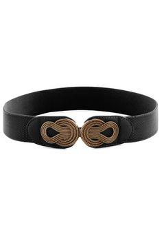 Boldly Buckled Belt in Black - Black, Gold, Woven, Variation, Solid
