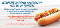 Join us on July 22nd at 9pm EDT for a #HotDogDay Twitter Party and you could WIN up to $500 in prizes! Hot Dog Buns, Hot Dogs, Start The Party, Chip Bags, Mac And Cheese, Dog Days, Rsvp, Don't Forget, Join