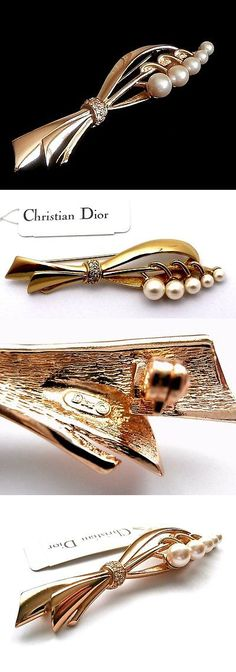 Pins Brooches 165894: Signed Christian Dior Pin Brooch Set With Pearls And Crystals New -> BUY IT NOW ONLY: $125 on eBay!